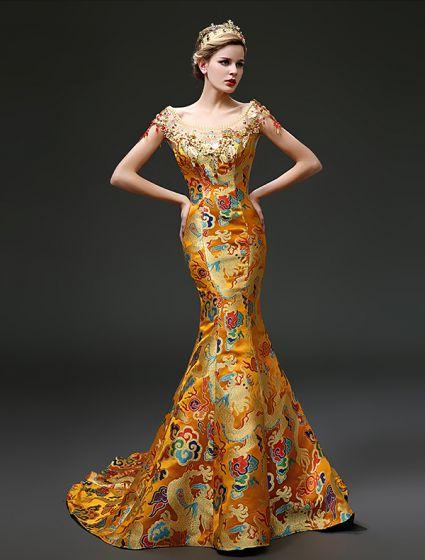 2.015 Sirena Vestido De Brocado Bordado China Túnicas Loong / Cheongsam Fiesta Por La Noche