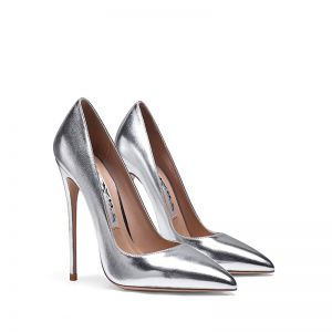 Chic / Beautiful Silver Evening Party Pumps 2020 Patent Leather 10 cm Stiletto Heels Pointed Toe Pumps