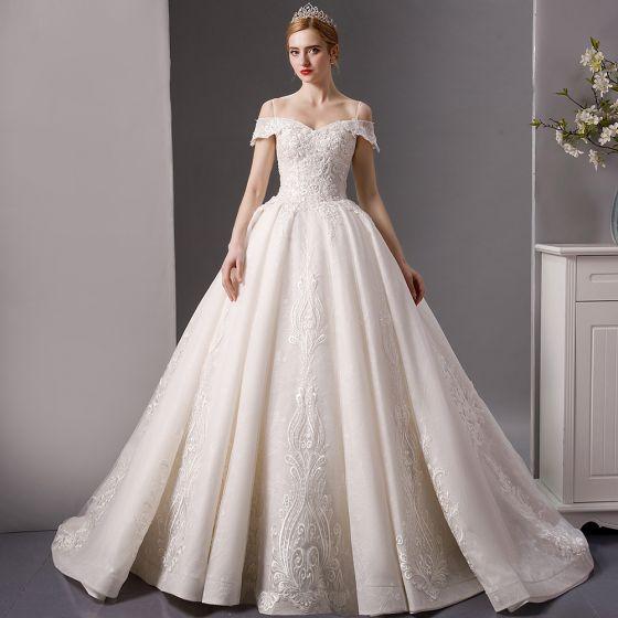 Kleidung & Accessoires Hochzeitskleid Brautkleid Elfenbein Gr.38 Ärmel Pailletten Stickerei Perlen