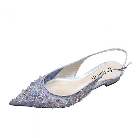 Encantador Verano Azul Cielo Fiesta Zapatos De Mujer 2020 Rhinestone Lentejuelas Punta Estrecha Planos Sandalias