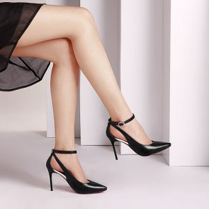 Chic / Beautiful Black Office Pumps 2017 Leather