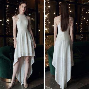 Schöne Weiß Pailletten Cocktailkleider 2020 A Linie Rundhalsausschnitt Ärmellos Perlenstickerei Asymmetrisch Festliche Kleider