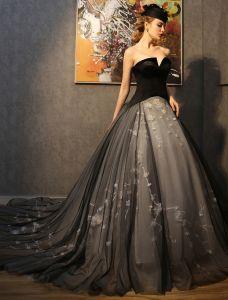 Atemberaubenden Ballkleider 2016 Trägerlos Schwarzen Kleid Champagner Tüll-mix Mit Applikationen Spitze Blumen