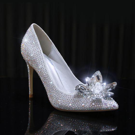 Aschenputtel Silber Kristall Brautschuhe 2020 Leder Strass 10 cm Stilettos Spitzschuh Hochzeit Pumps