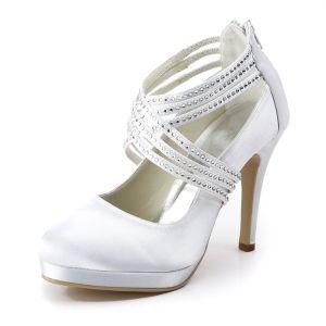 Binden Hoge Hakken Mode Schoenen Wit Satijnen Trouwschoenen Bruidsschoenen Bruids Feestschoenen