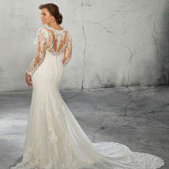 Luxury / Gorgeous Ivory Plus Size Wedding Dresses 2020 Trumpet / Mermaid V-Neck Long Sleeve 3D Lace Appliques Backless Handmade  Court Train Wedding