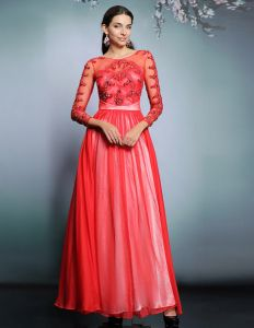2015 Red Chiffon Beading Evening Dress