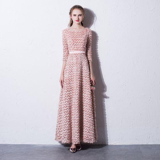 Schöne Rosa Abendkleider 2017 A Linie Rundhalsausschnitt 3/4 Ärmel Knöchellänge Festliche Kleider