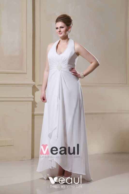 Beading Ruffles Halter Sweep Plus Size Bridal Gown Wedding Dress