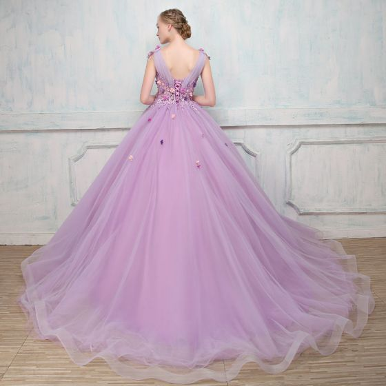 Elegant Lavender Prom Dresses 2018 Ball Gown Appliques Pearl V-Neck Backless Sleeveless Court Train Formal Dresses