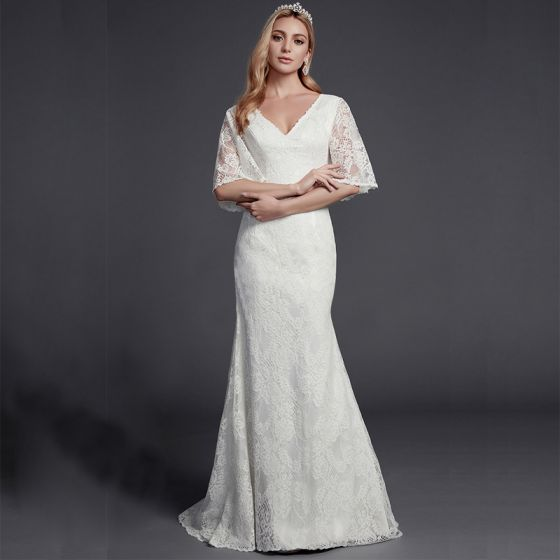 Modest / Simple Ivory Wedding Dresses 2020 Trumpet / Mermaid V-Neck 1/2 Sleeves Appliques Backless Embroidered Wedding