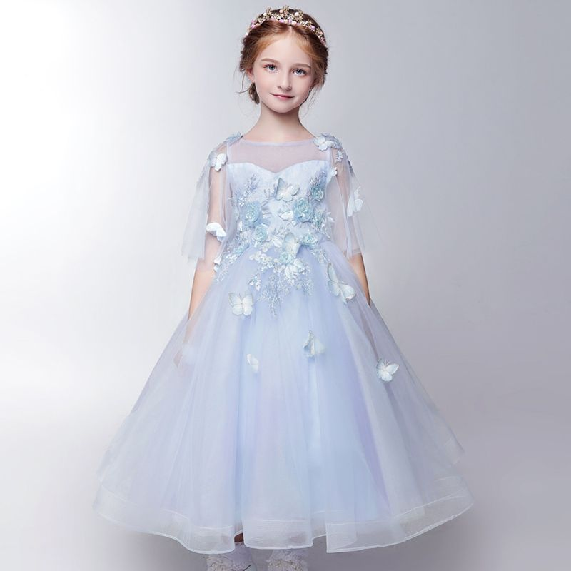 Chic / Beautiful Hall Wedding Party Dresses 2017 Flower Girl Dresses Sky Blue Ankle Length A-Line / Princess 1/2 Sleeves Square Neckline Backless Heart-shaped Butterfly Appliques Pearl Sequins Leaf Beading