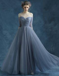 Perlage Épaules Encolure Transparente Mousseline Bleu Encre Robes De Soirée Pas Cher