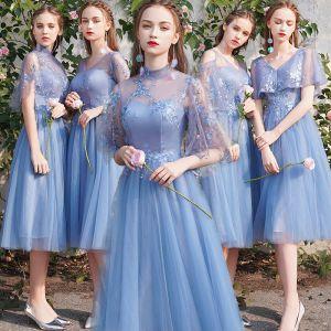 Schöne Rabatt Meeresblau Brautjungfernkleider 2019 A Linie Applikationen Spitze Wadenlang Rüschen Rückenfreies Kleider Für Hochzeit