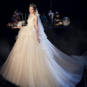 Bling Bling Champagne Organza Bröllopsklänningar 2019 Balklänning Genomskinliga Djup v-hals Ärmlös Halterneck Glittriga / Glitter Tyll Cathedral Train Ruffle