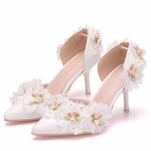 Elegant White Wedding Shoes 2018 Appliques Rhinestone 8 cm Stiletto Heels Pointed Toe Wedding High Heels
