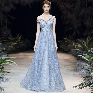 Schöne Himmelblau Abendkleider 2020 A Linie One-Shoulder Kurze Ärmel Perlenstickerei Applikationen Spitze Lange Rüschen Rückenfreies Festliche Kleider