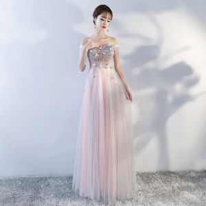 Chic / Beautiful Pearl Pink Prom Dresses 2018 A-Line / Princess Lace Appliques Crystal Off-The-Shoulder Backless Sleeveless Floor-Length / Long Formal Dresses
