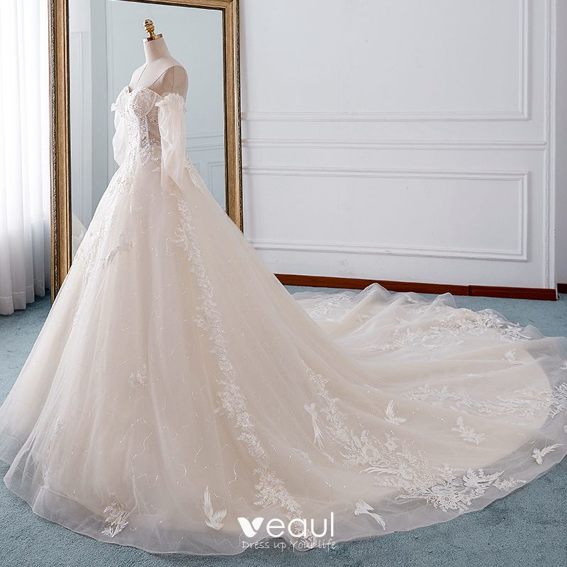Detachable Cathedral Train Wedding Gown: Elegant Champagne Wedding Dresses 2019 A-Line / Princess