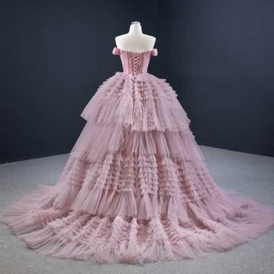 Luxury / Gorgeous Blushing Pink Prom Dresses 2020 Ball Gown Off-The-Shoulder Short Sleeve Court Train Cascading Ruffles Backless Formal Dresses