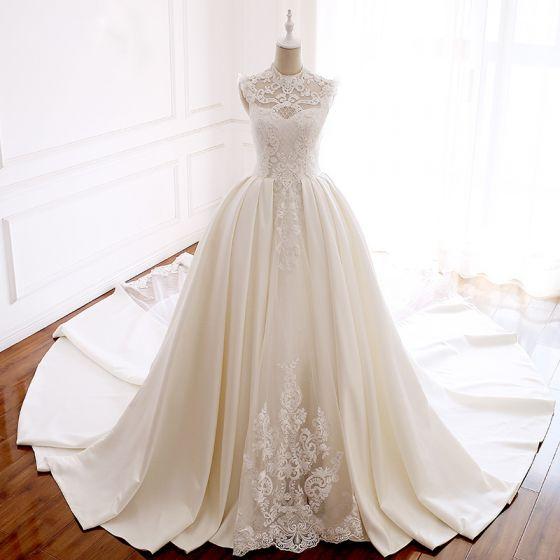 Luxury / Gorgeous Ivory Pierced Wedding Dresses 2018 Ball