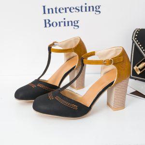Modest / Simple Black Street Wear Womens Sandals 2020 T-Strap 8 cm Thick Heels Round Toe Sandals