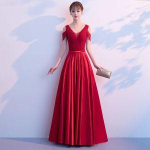 Elegant Burgundy Prom Dresses 2019 A-Line / Princess Ruffle Beading V-Neck Backless Short Sleeve Floor-Length / Long Formal Dresses