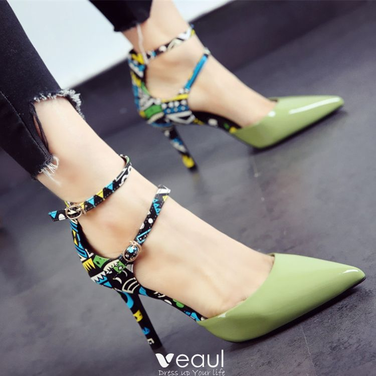 Chic / Beautiful 2017 8 cm / 3 inch Black Green White Church Cocktail Party Evening Party PU Summer High Heels Stiletto Heels Pumps