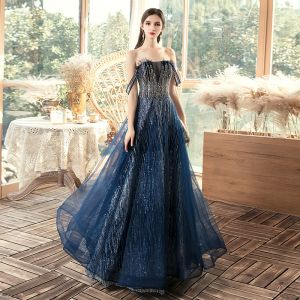 Chic / Beautiful Navy Blue Evening Dresses  2020 A-Line / Princess Off-The-Shoulder Short Sleeve Sequins Floor-Length / Long Ruffle Backless Formal Dresses