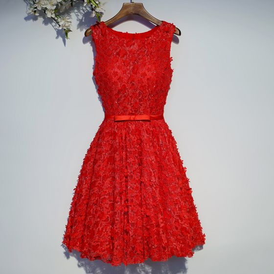 Chic / Beautiful Red Formal Dresses Evening Dresses  2017 Lace Flower Sequins Bow Artificial Flowers Crossed Straps Knee-Length Scoop Neck A-Line / Princess Sleeveless