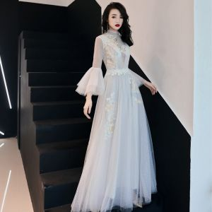 Illusion Ivory See-through Evening Dresses  2019 A-Line / Princess High Neck Bell sleeves Spotted Tulle Appliques Lace Floor-Length / Long Ruffle Formal Dresses Fall