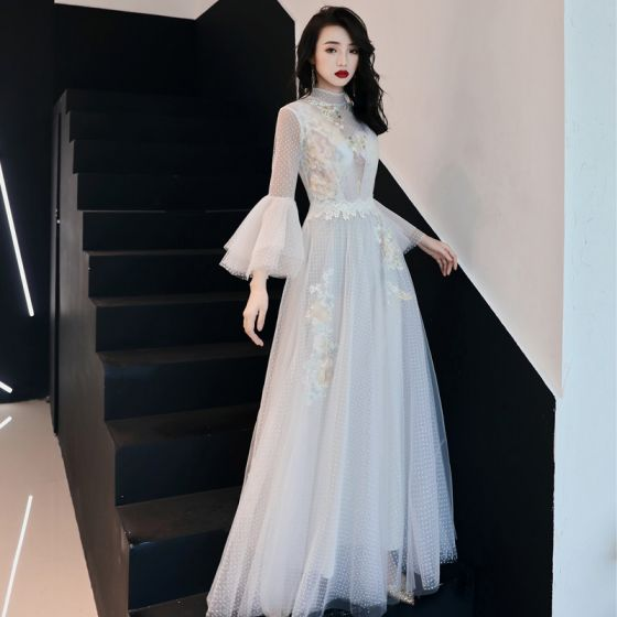 3e82895b38 Illusion Ivory See-through Evening Dresses 2019 A-Line   Princess High Neck  Bell sleeves Spotted Tulle Appliques ...