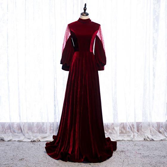 Elegant Burgunder Selskapskjoler 2020 Prinsesse Suede Høy Hals Langermede Ryggløse Sløyfe Feie Tog Formelle Kjoler