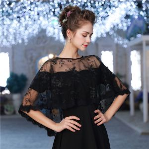 Black Lace Tulle Scoop Neck Evening Party Prom Shawls 2017