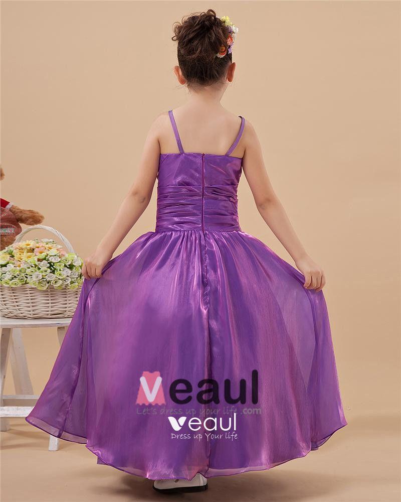 Glamorous A-Line Spaghetti Straps Floor-Length Taffeta Flower Girl Dresses