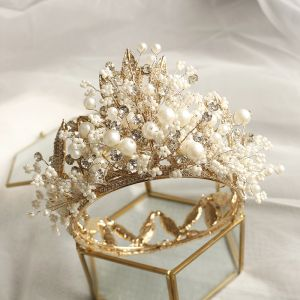 Fabulous Gold Tiara Wedding Accessories 2020 Metal Beading Pearl Rhinestone Bridal Hair Accessories