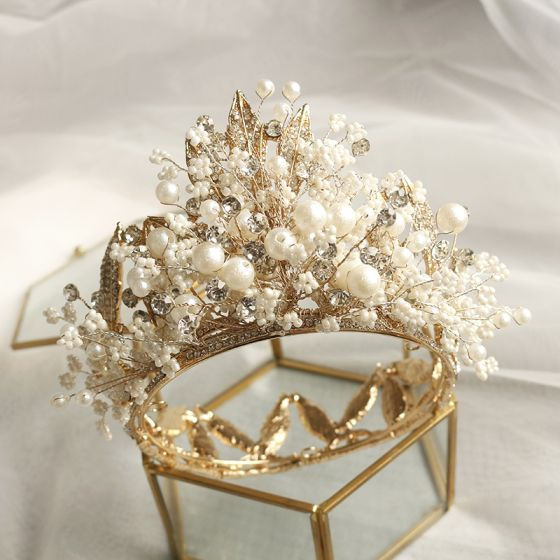 Fabulous Gold Tiara Wedding Accessories 2020 Metal Beading Pearl Rhinestone Bridal Hair Accessories