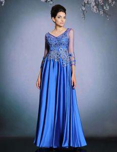 2015 Satin Mash Appliques Lace Evening Dress
