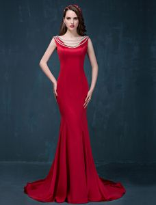 2015 Mermaid Simple Design Shoulders Sleeveless Red Satin Evening Dress
