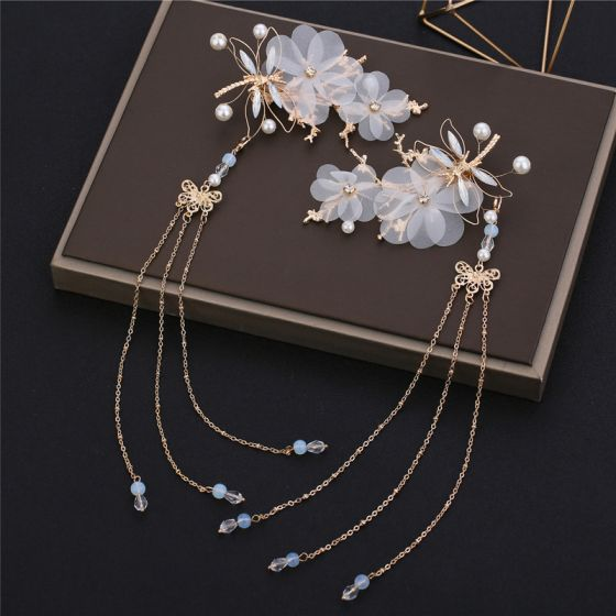 Flower Fairy Gold Earrings Headpieces 2019 Flower Pearl Wedding Cocktail Party Evening Party Handmade  Accessories
