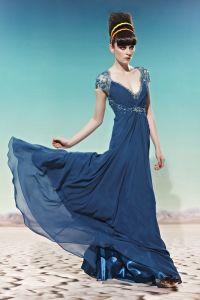 Floor Length Short Sleeve V Neck Beading Composite Filament Empire Woman Evening Dress