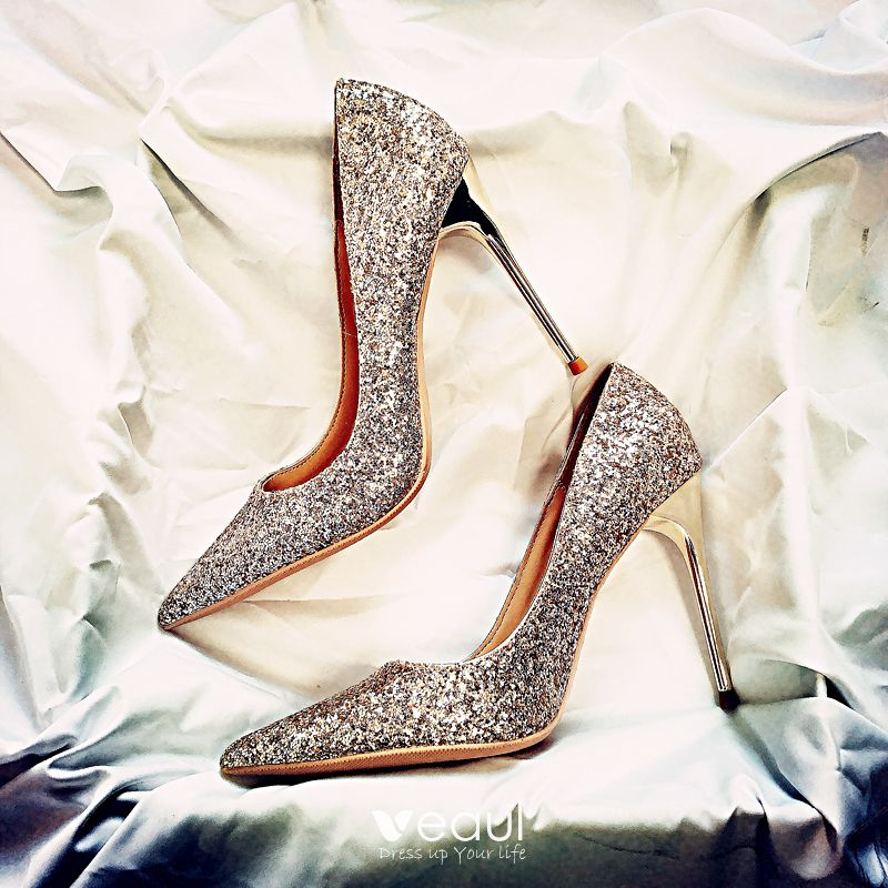 Sparkly Starry Sky Black Wedding Shoes 2019 Leather Sequins 10 cm Stiletto Heels Pointed Toe Wedding Pumps