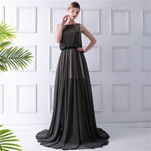Elegant Brown Summer Evening Dresses  2019 Sheath / Fit Square Neckline Sleeveless Sequins Sweep Train Ruffle Formal Dresses