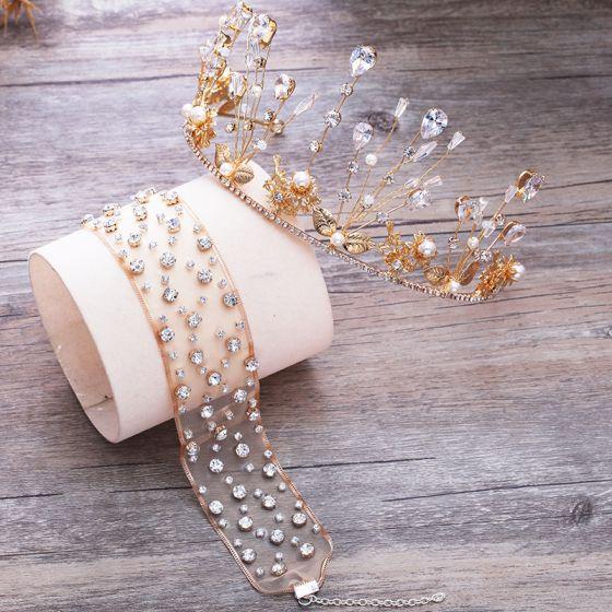 Hermoso Oro Tiara Pendientes Collares Joyas 2019 Metal Crystal Perla Rhinestone Boda Accesorios