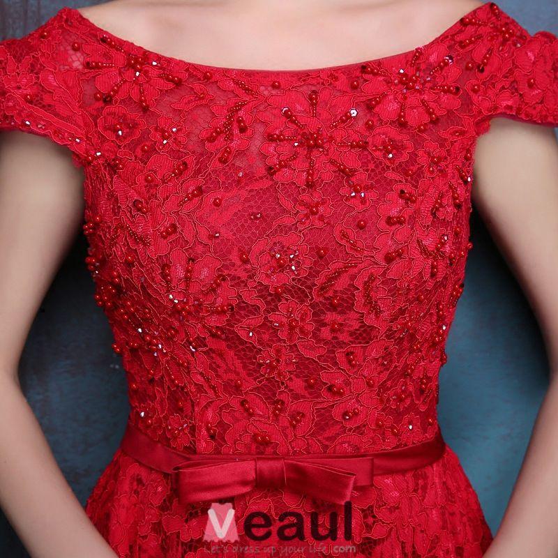 Élégantes Robe De Soirée Dos Nu 2016 Perles Dentelle Rouge Robe De Ceremonie Lounge Avec Noeud Guillotine