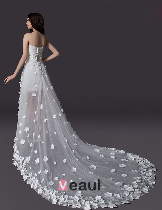 2015 A-line Embroidered Flower Asymmetrical Tulle Short Wedding Dress
