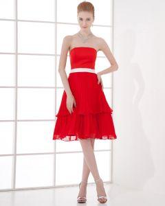 Mode Strapless Knie-lengte Chiffon Plisse Bruidsmeiden Jurken