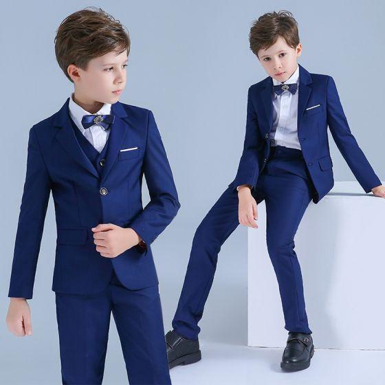 Kongeblå Drenge Bryllup Dragter 2019 Langærmet Coats Skjorter
