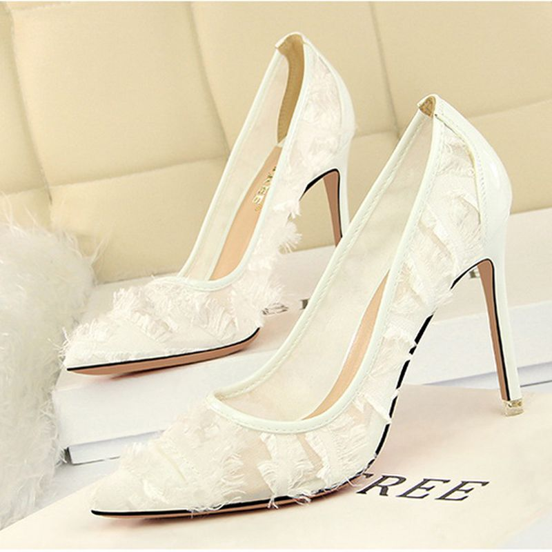 Chic / Beautiful Grey Evening Party Pumps 2019 Tassel 10 cm Stiletto Heels Pointed Toe Pumps