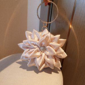 Amazing / Unique Champagne Flower Clutch Bags 2020 Metal Rhinestone